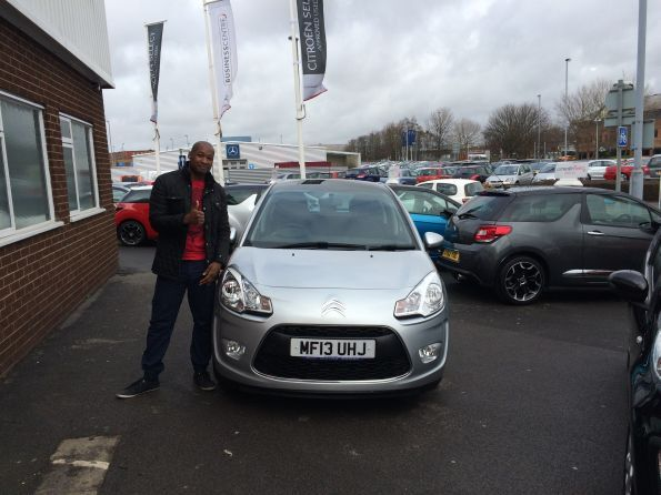 Mr Harris picking up his new Citroen C3 from Jamie at Citroen Bolton