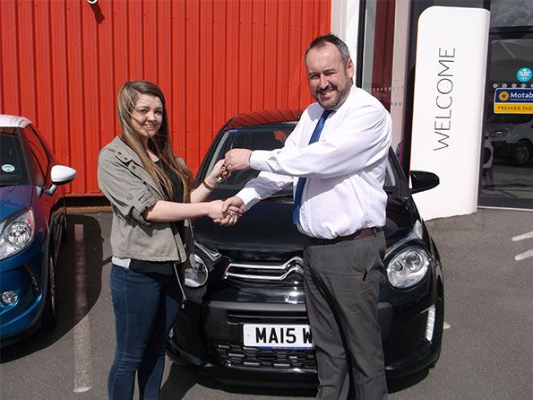 Miss Baker collecting her C1 from Lee Anslow and Citroen Bury