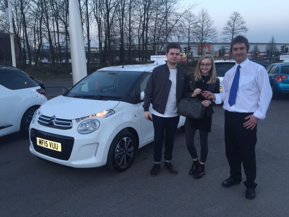 Miss Boyle collecting her brand new C1 from Dave at Citroen Bolton