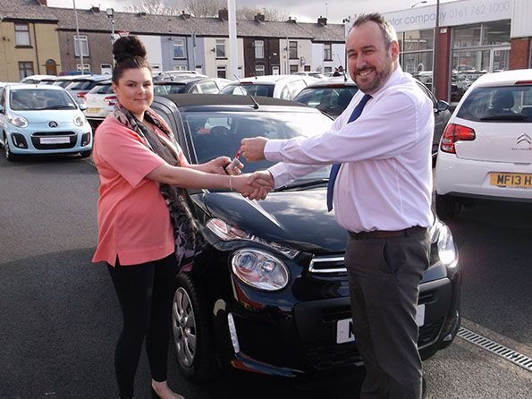 Miss Roche collecting her C1 at Citroen Bury!