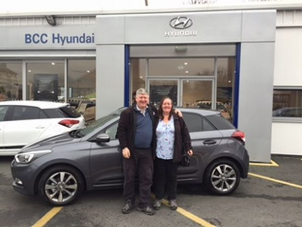 Mr Hepner collecting his brand new Hyundai i20!
