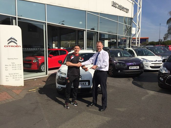Wigan Warriors Paul Deacon collecting his brand new car from Tony Lunt at Citroen Wigan!