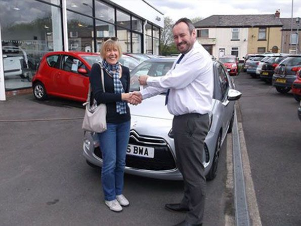 Ms McKean collecting her brand new DS3 from Lee Anslow at Citroen Bury - Happy motoring!