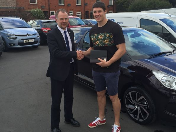 Wigan Warriors Joel Tomkins with his brand new DS3 from Tony Lunt at Citroen Wigan