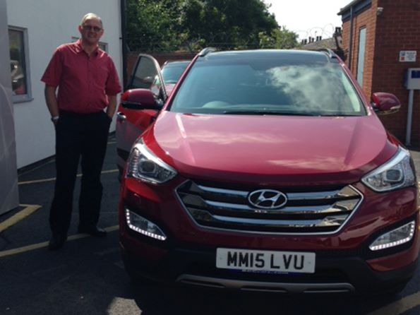 Mr Bearman collecting his 6th car from BCC! We hope you love your brand new Santa Fe Premium SE from Dave Partington.