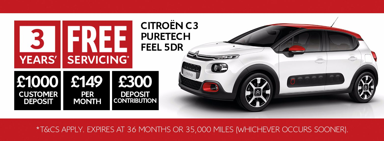 3 years' free servicing available on all New Citroën C3